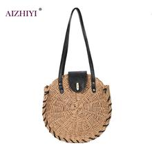 Round Straw Beach Bag Vintage Handmade Woven Shoulder Bag Raffia circle Rattan Bags Bohemian Summer Vacation Casual Bag 2019 New