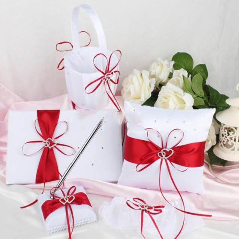 5 pièces/ensemble panier de fleurs de mariage + ensemble de stylo livre d'or + accessoires ensemble oreiller anneau - 6