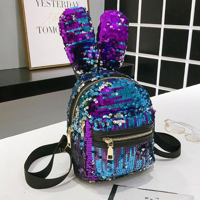 7ce418a7dd Fashion Mini Shining Sequins School Backpack Women Rabbit Ears Rucksack  Girl Cartoon Label Purse ZipperShoulder with