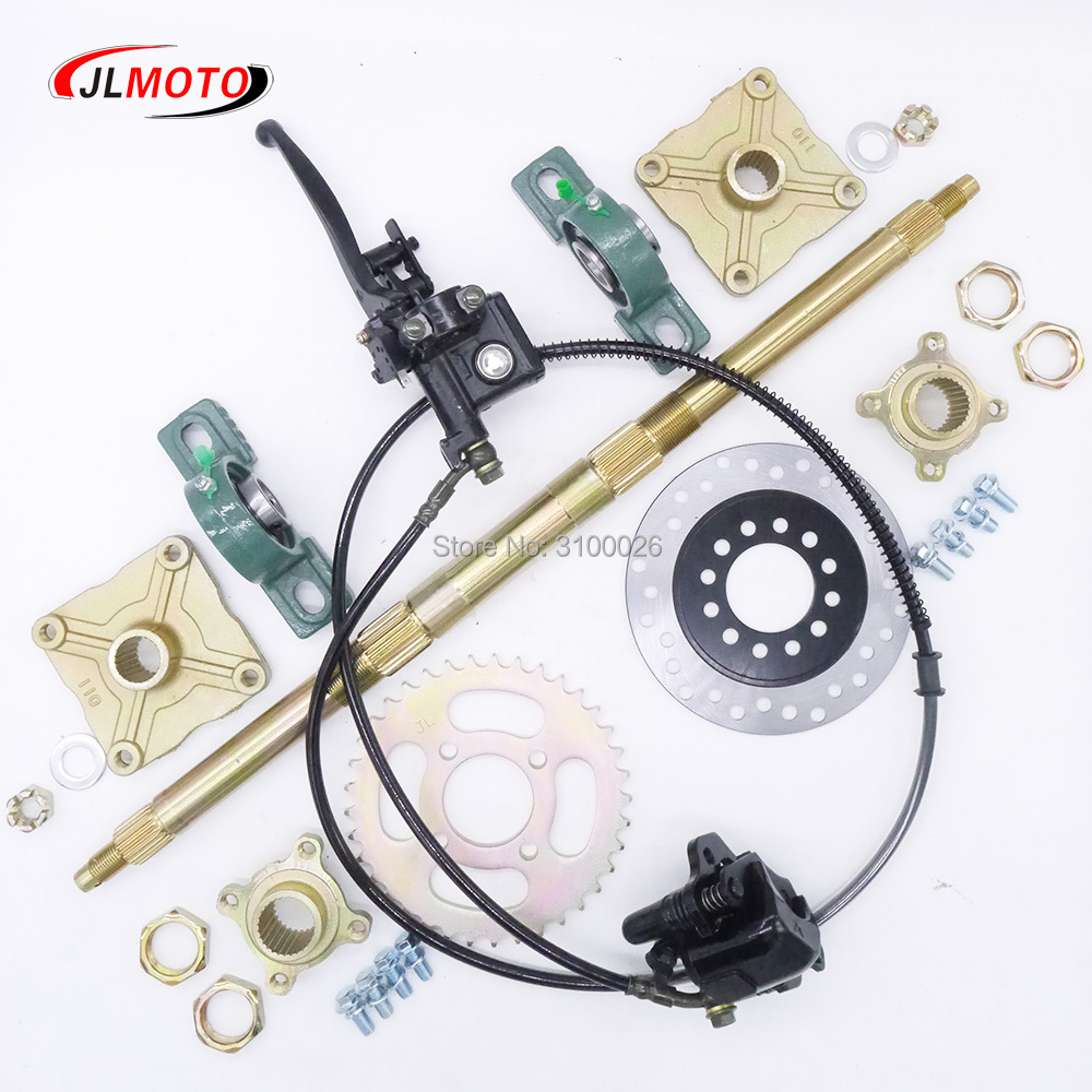 610mm M8*4 Heavy Wheel Hub Rear Axle Assy With 428# 37T Sprocket 160mm Disc Brake Fit For 50CC ELECTRIC ATV Buggy Bike Parts-in ATV Parts & Accessories from Automobiles & Motorcycles    1