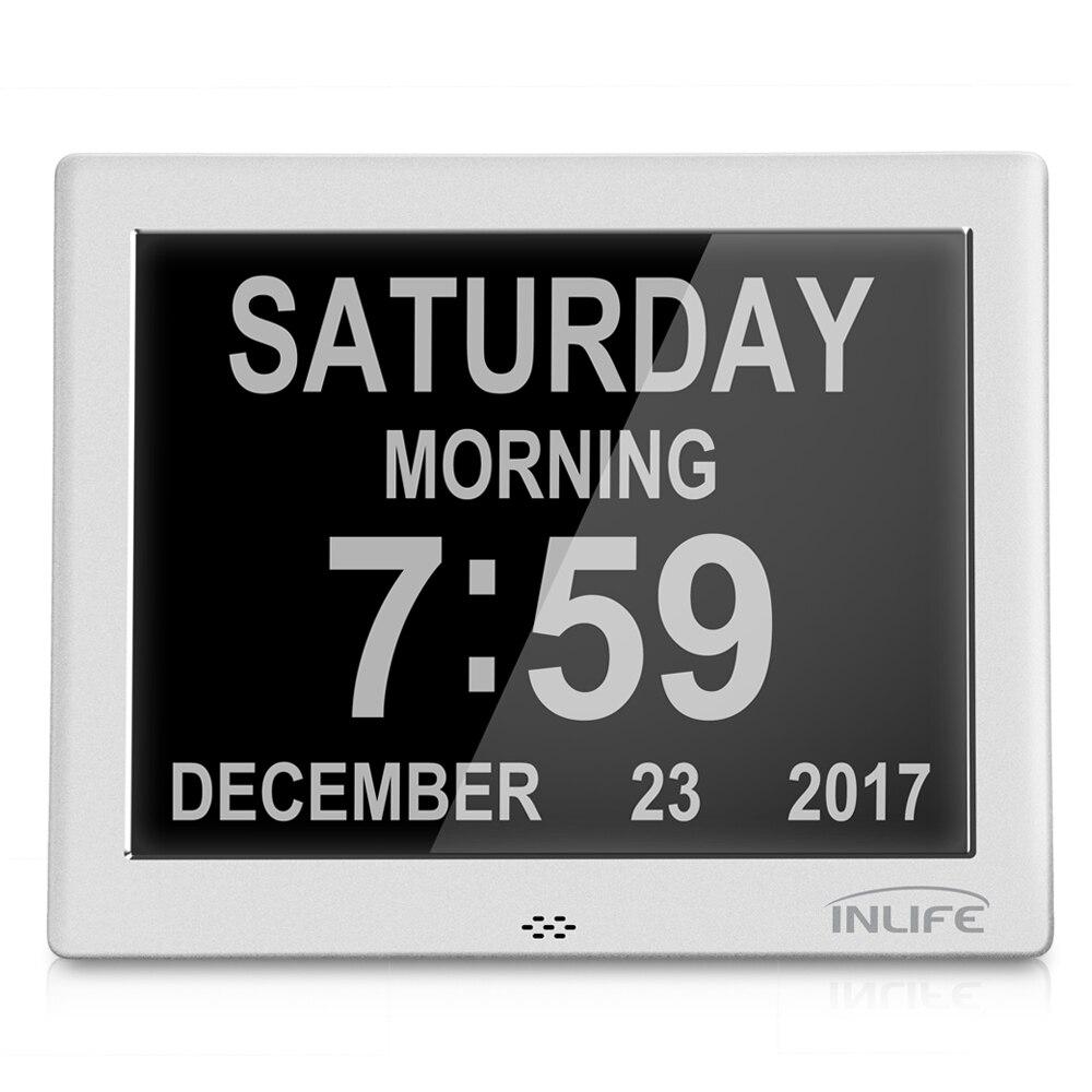Inlife DDC 8002J 7 Inch Multipurpose Digital Calendar Clock 8 Languages Table Desk Alarm Clocks Home Decro Wall Hanging Clock