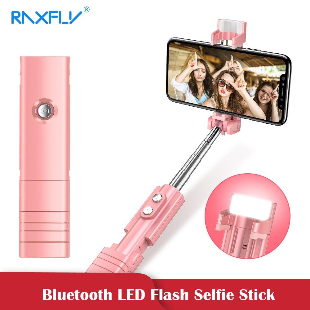 RAXFLY Mini palo Selfie Bluetooth Para iPhone teléfono LED Flash SelfieSticks plegable monopié trípode para Samsung Xiaomi Huawei
