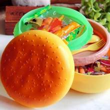 800/1000ML Double Cute Kids Hamburger Bento Lunch Box Food Container Storage with Fork Insulation Lunch Box Bento Container(China)