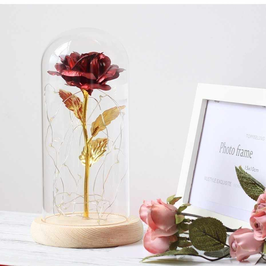 Valentines Day Gift Beauty And The Beast Platinum LED Artificial Flowers Golden Rose In Glass Dome For Mother's Day Gift