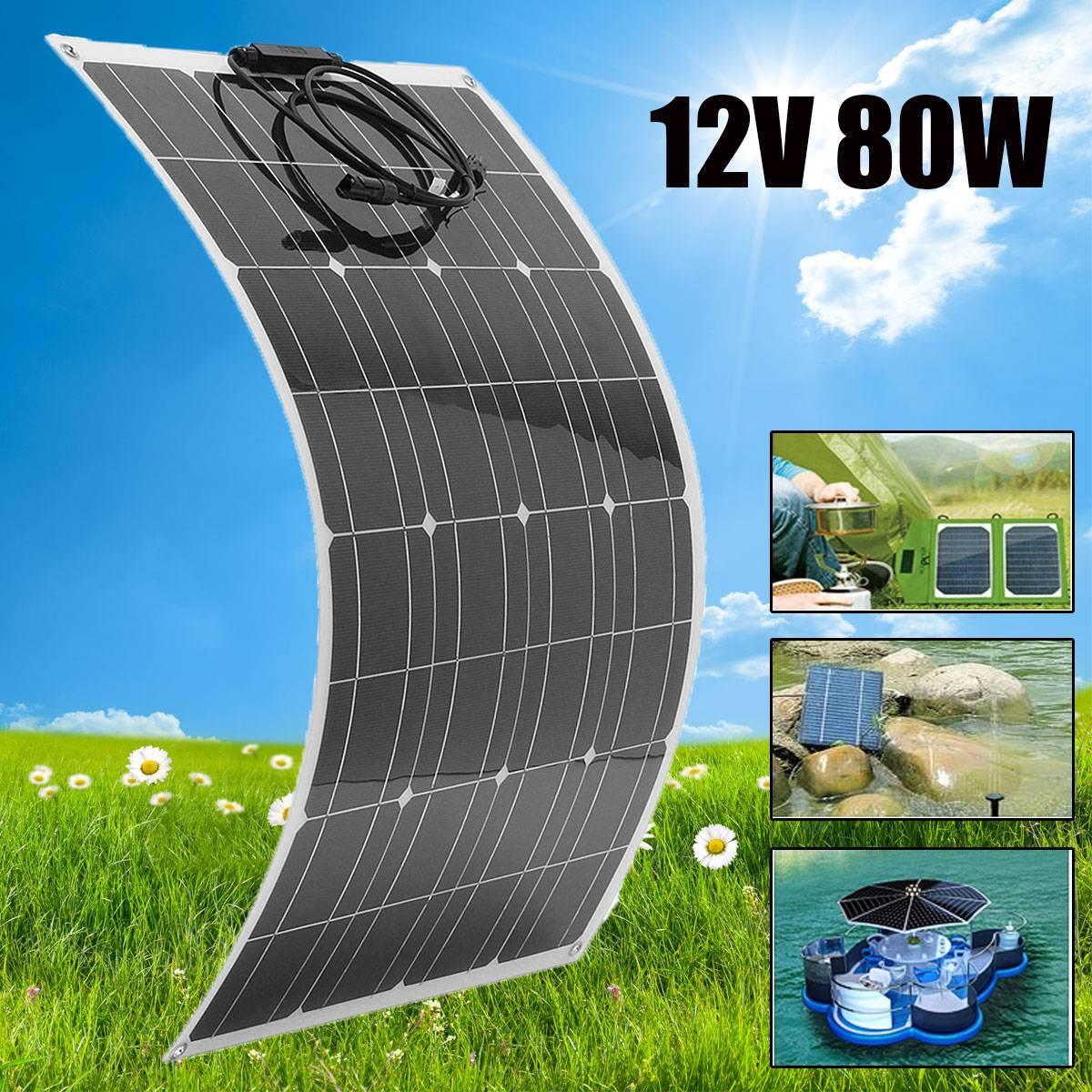 Flexible panneau solaire Plaque 12 V 80 W chargeur solaire pour la voiture Batterie De Charge 18 V Cellule Monocristallin Module Pour Hause, toit, Bateau