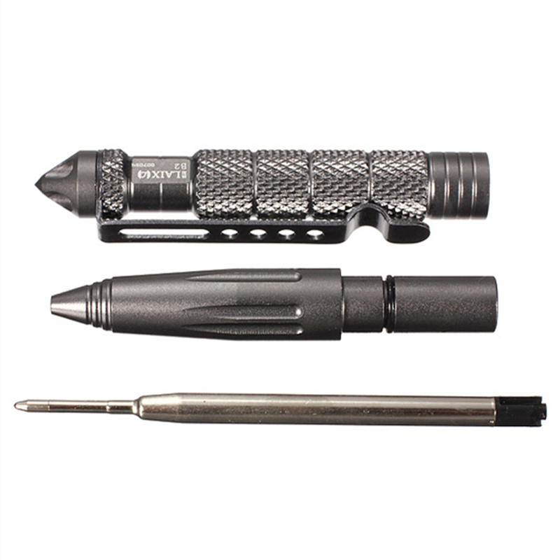 1Pcs Multifunctional B2 Aluminum Alloy Self-defensing Protection Tactical Pen Glass Breaker Black/Grey/Grey Silver Three Colors