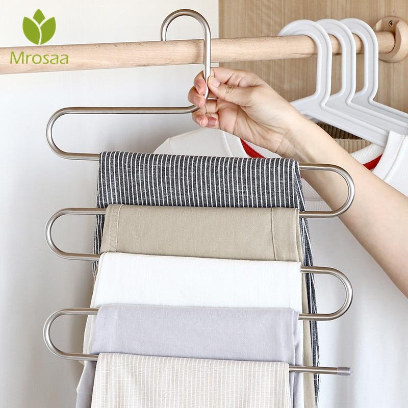 Trousers Hanger Bathroom Organizer Magic Pants Clothes Closet Belt Holder Rack For Kitchen Bathroom Room Shelf Organizer Bars