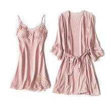 Embroidery Home Suit Ice silk Nighties Pajamas Satin Sleepwear Pijama Home Clothing For Women Lace R