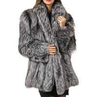 2019 New Winter Coat 3 Colors Women Faux Fox Fur Coat Plus Size Women Stand Collar Long Sleeve Faux Fur Jacket Fur coat