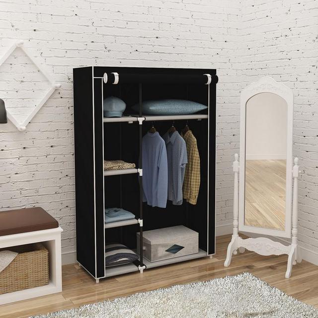 64 Portable Closet Storage Organizer Wardrobe Clothes Rack With Shelves Black Diy Non Woven Fold Furniture