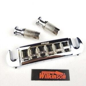 Image 2 - Wilkinson Adjustable Wraparound LP Electric Guitar Bridge Tailpiece Chrome Silver WOGT3