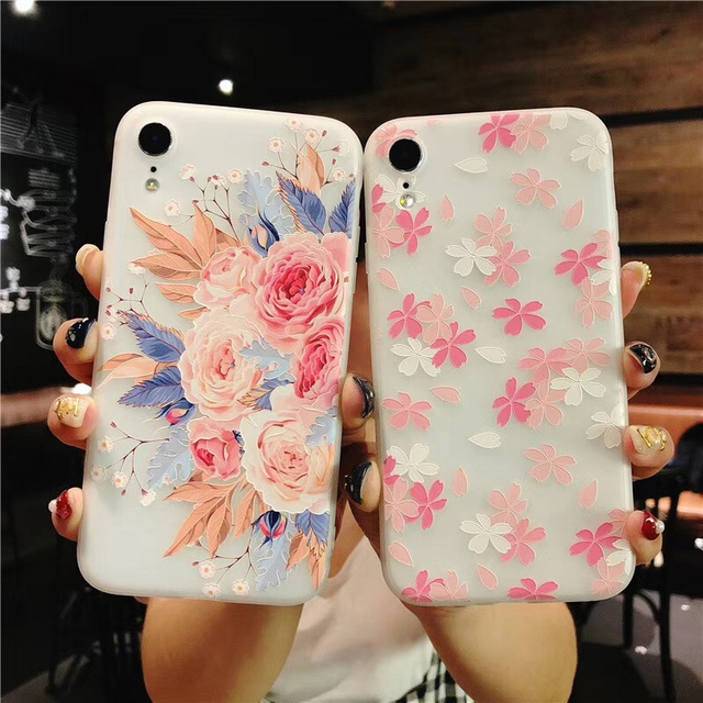 iPhone 3D Fashion Relief Flower Flamingo Leaf Soft TPU For iPhone