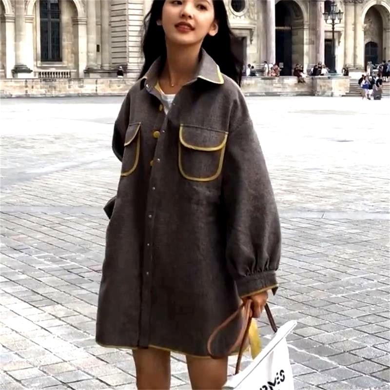 Rétro 2019 Décontracté Femmes Automne Coffee Printemps Vadim Veste vent Lâche Section Longue Manteau Femme Coupe De Long Color P850 Mince YnY8qrx