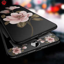 цена на 360 Full Cover For iPhone 7 Plus Case Floral Flower Pattern Cases For iPhone 6 6s 7 8 Plus X Black Protective Bumper Coque