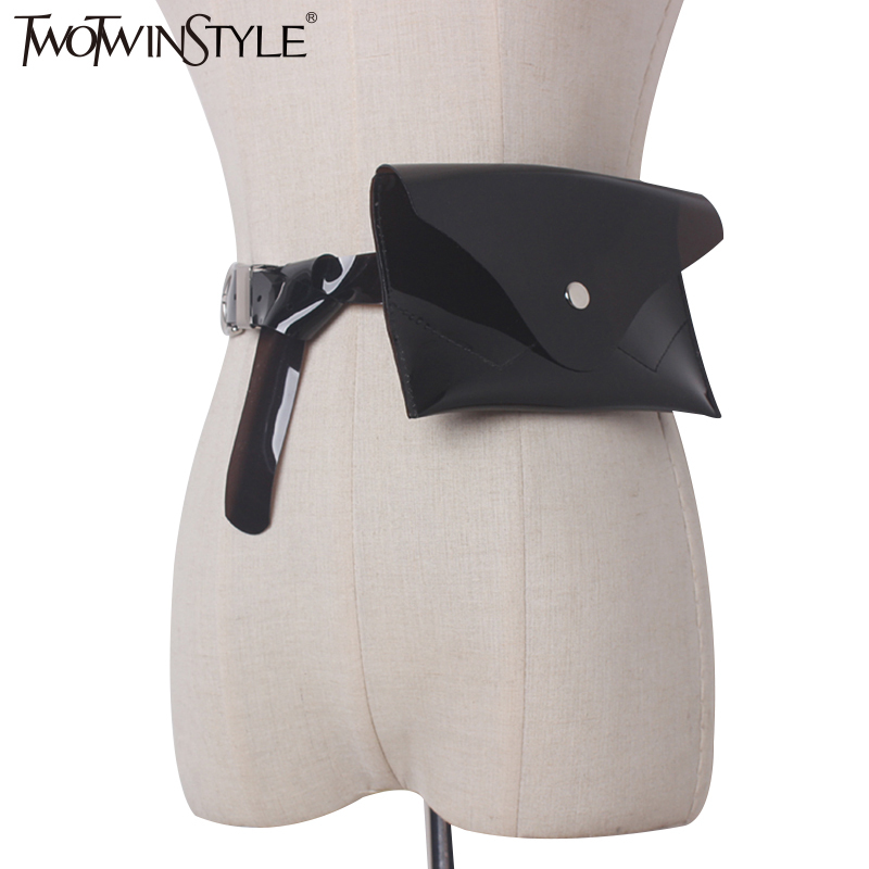 TWOTWINSTYLE 2020 PU Leather Woman Transparent Belt Multiple Colour Bag Female Delts Sweets Clothing Accessories Fashion Korean