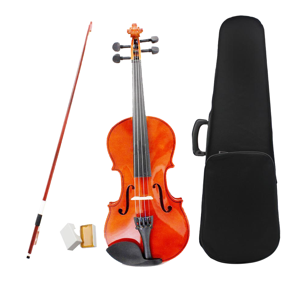 ADDFOO 3/4 Size Natural Violin Basswood Steel String Arbor Bow With Case Rosin Bridge Bow Instrument Violin for Beginners