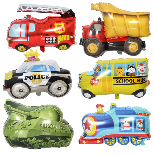 1 pc Bonito Tanque Trem Ônibus Escolar Carro Da Polícia Ambulância Carro Balão de alumínio Balão de Hélio Festa de Aniversário Do Bebê Da Menina do Menino brinquedo decoração Kdis