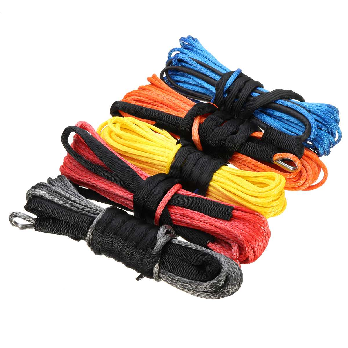 5mm ATV UTV Winch Rope Cable Line 15m 5500lbs Synthetic Fiber Lines For SUV Pickup Offroad VAN