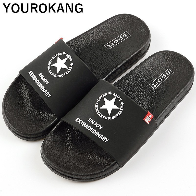 Men Summer Slippers Fashion Couple Lovers Beach Shoes Unisex Soft Bathroom Home Slippers Cool Outdoor Flip Flops New Arrival