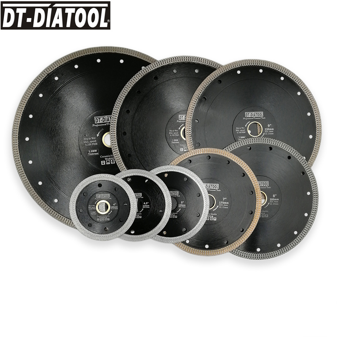 "DT-DIATOOL 1pc Dia 4""-12"" Super-thin Diamond Cutting Disc X Mesh Turbo Rim Segment Saw Blades For Ceramic Tile Porcelain"