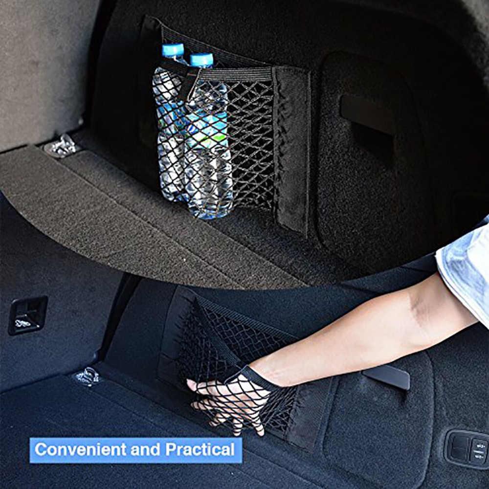 Torba worek do przechowywania samochodu kieszonkowy klatka dla wszystkich samochodów tylny bagażnik Seat elastyczne stringi netto Mesh torba do przechowywania kieszeń klatki