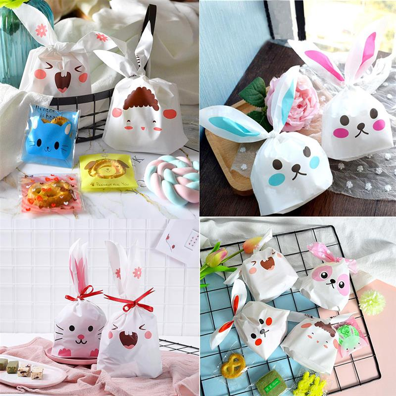 50Pcs Biscuit Candy Bags Cute Bunny Rabbit Ears Gift Bag Set Plastic Party Favors Cookie Snack Candy Birthday Decor Kids Gift