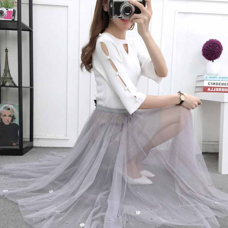 2019 summer high waist tutu skirt harajuku vintage tulle long skirts korean pleated women clothes lace autumn plus size skirt in Skirts from Women 39 s Clothing