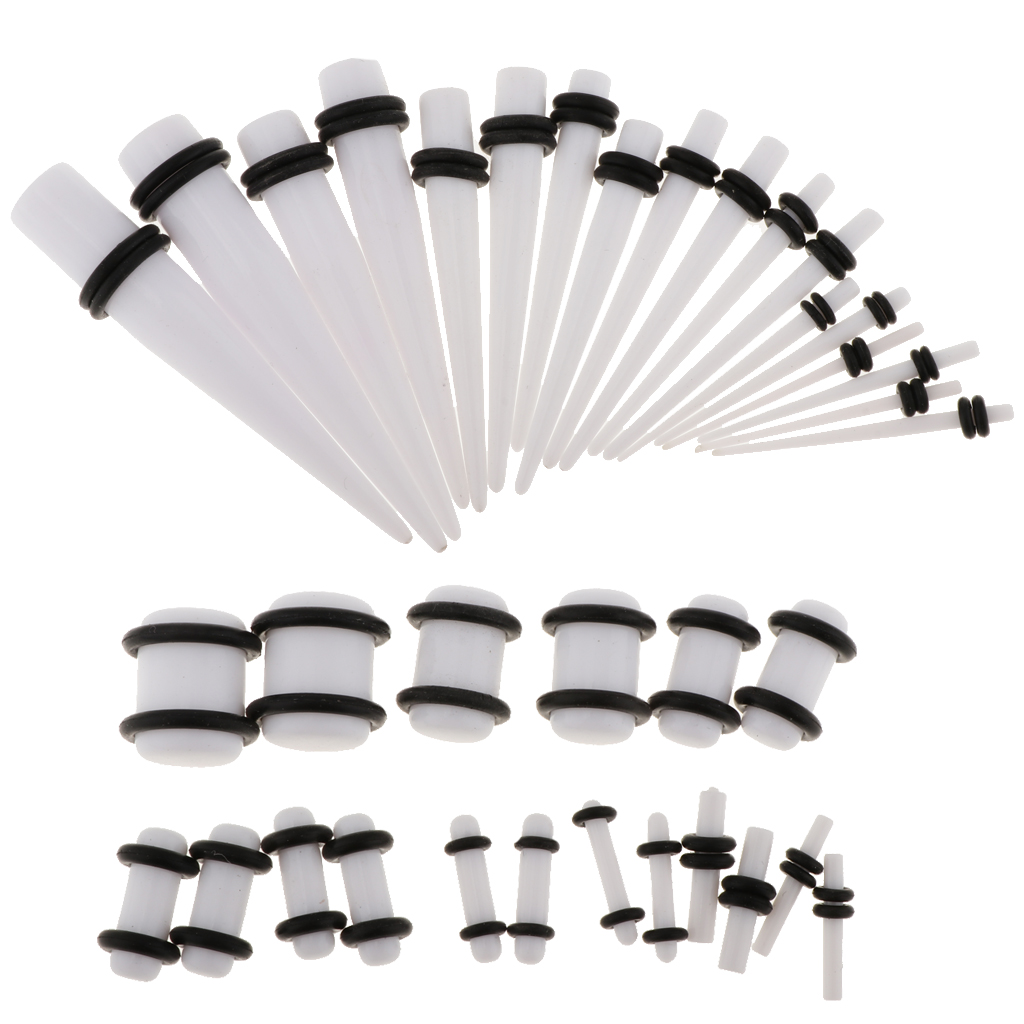 36pcs Set Ear Gauges Stretching Kit Acrylic 14G 00G Expander Tapper Plugs Body Piercing Jewelry in Stud Earrings from Jewelry Accessories