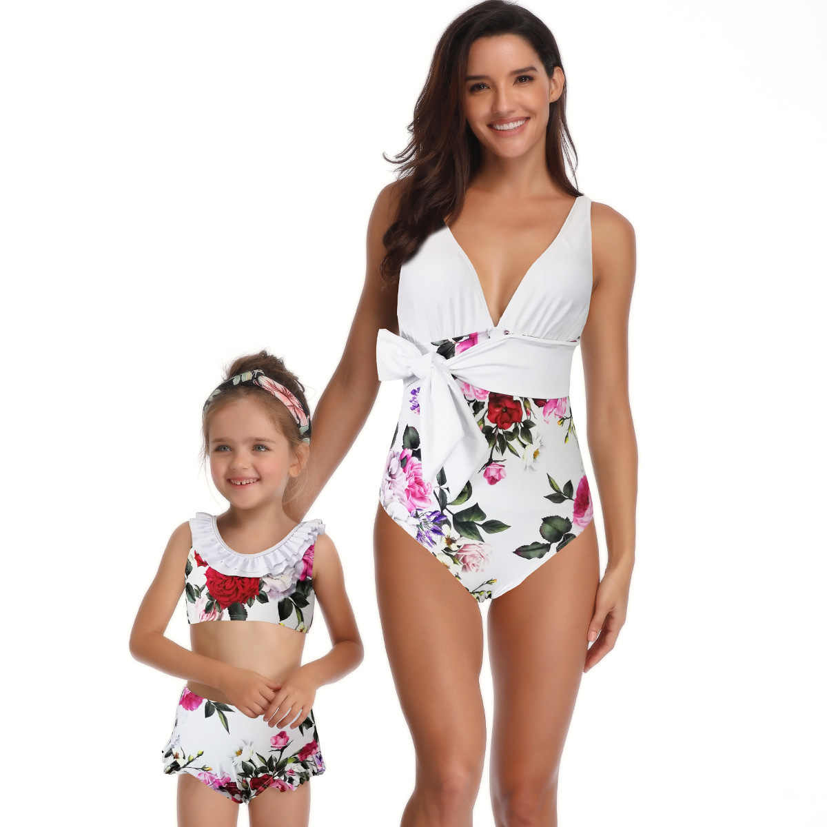 0fcd18f642 ... Mother And Daughter Matching Bikini Bodysuit Mommy And Me Swimwear 2Pcs  Girls Swimsuits Fashion Beach Wear ...