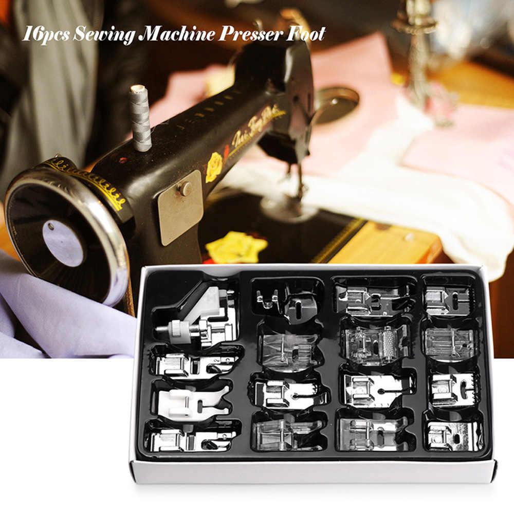 Kit de Machines à coudre pied pressoir | 16 pièces avec boîte Brother Singer Janom outils à coudre outil à coudre