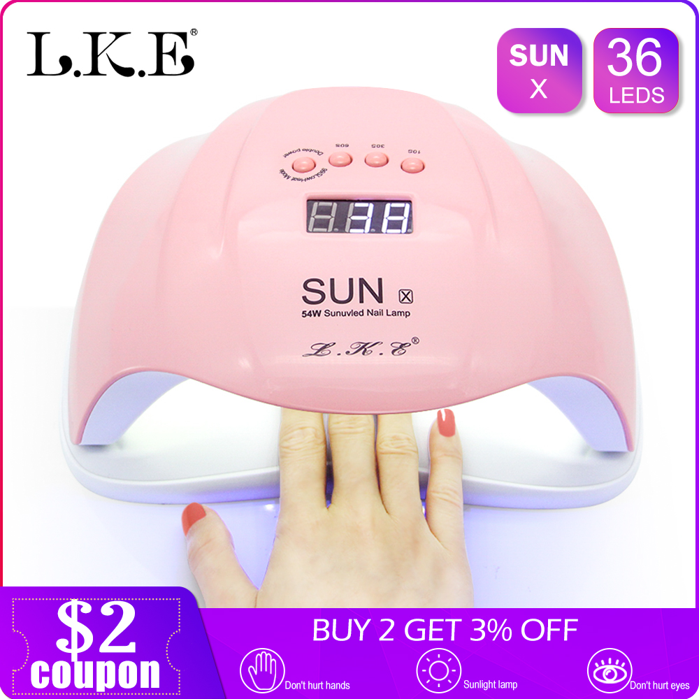 LKE Nail lamp New SUNX Pink UV lamp 48W/54W Dual power nail dryer Portable Nail Manicure For All Gel Polish Lamp for NailsLKE Nail lamp New SUNX Pink UV lamp 48W/54W Dual power nail dryer Portable Nail Manicure For All Gel Polish Lamp for Nails