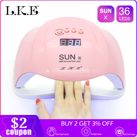 LKE Nail lamp New SUNX Pink UV lamp 48W/54W Dual power nail dryer Portable Nail Manicure For All Gel Polish Lamp for Nails