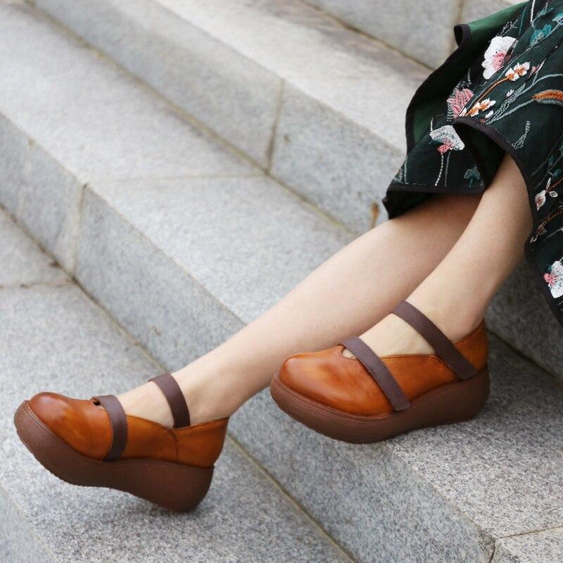 Rouge Véritable 6 Cm Femelle Pompes Femmes Mocassins R Talons brown Été En Oxfords De Cuir chocolat Hauts Rouge 2019 Chaussures Printemps qwCz47CP
