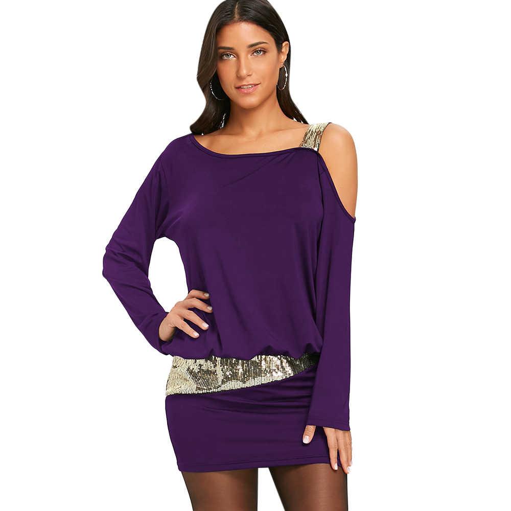 Wipalo Сексуальное женское вечернее мини-платье с длинными рукавами открытым плечом и блестками