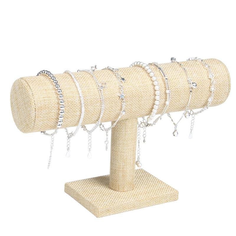 Linen Bracelet Display Chain Watch T-Bar Rack Jewelry Display Organizer Hard Display Stand Holder