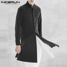 2019 NEW Stylish Mens Long Jackets Black Stand Collar Button Up Fashion Coats Ja
