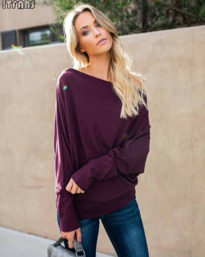 Autumn Sweater Women Long Batwing Sleeve Sexy Off Shoulder Knitted Solid Baggy Pullover Jumper Tops