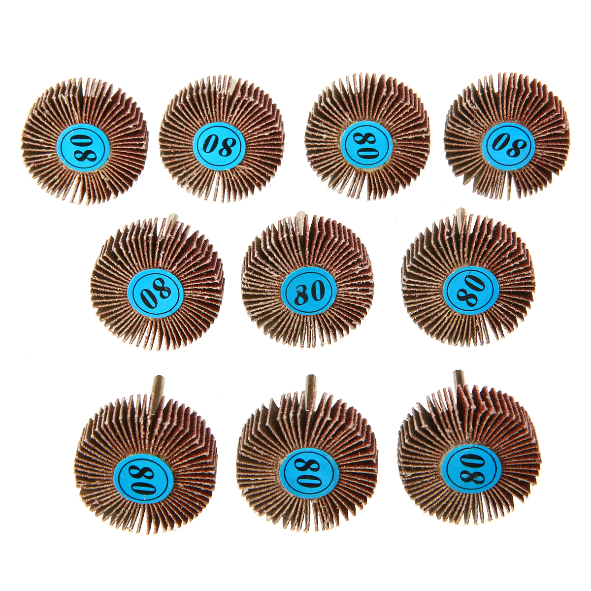 10pcs 80 Grit Abrasive Flap Wheels Sanding Discs Set Flap Sanding Disc Polish Rotary Tools For Power Tool