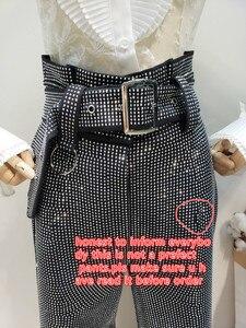 Image 4 - LANMREM 2018 أزياء جديدة من حجر الراين عالية الخصر الدانتيل مرونة القطن فضفاضة واسعة الساق السراويل السوداء سراويل الإناث YG09101