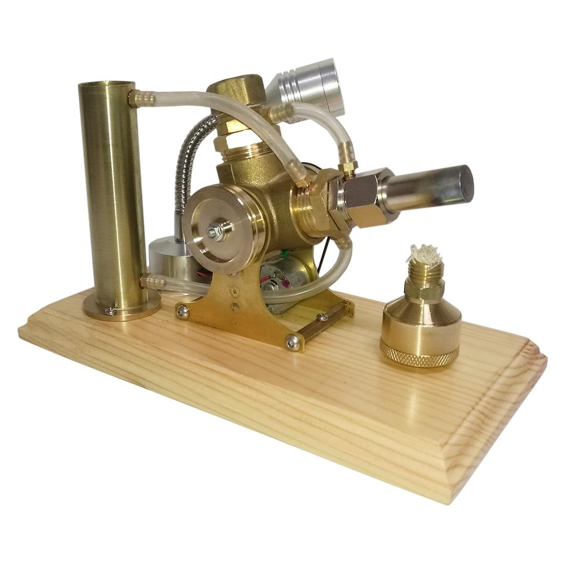 Водяное охлаждение V Форма Модель двигателя Стирлинга строительные наборы с полной медной деревянной основой Развивающие игрушки для дете