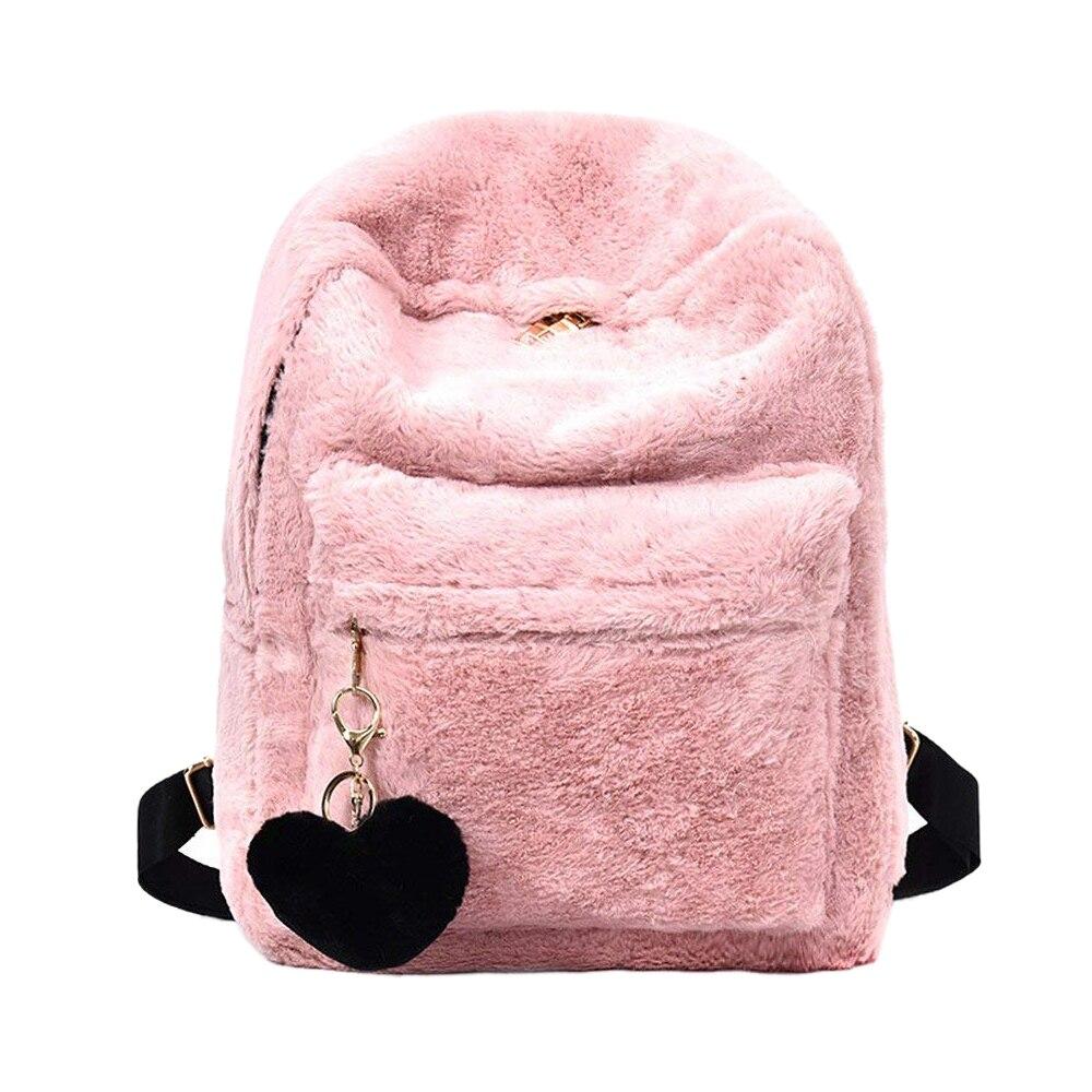 LJL Women Soft Faux Fur Plush Backpack Shoulder Bag Fluffy School Bag With Heart Pendant (Pink)