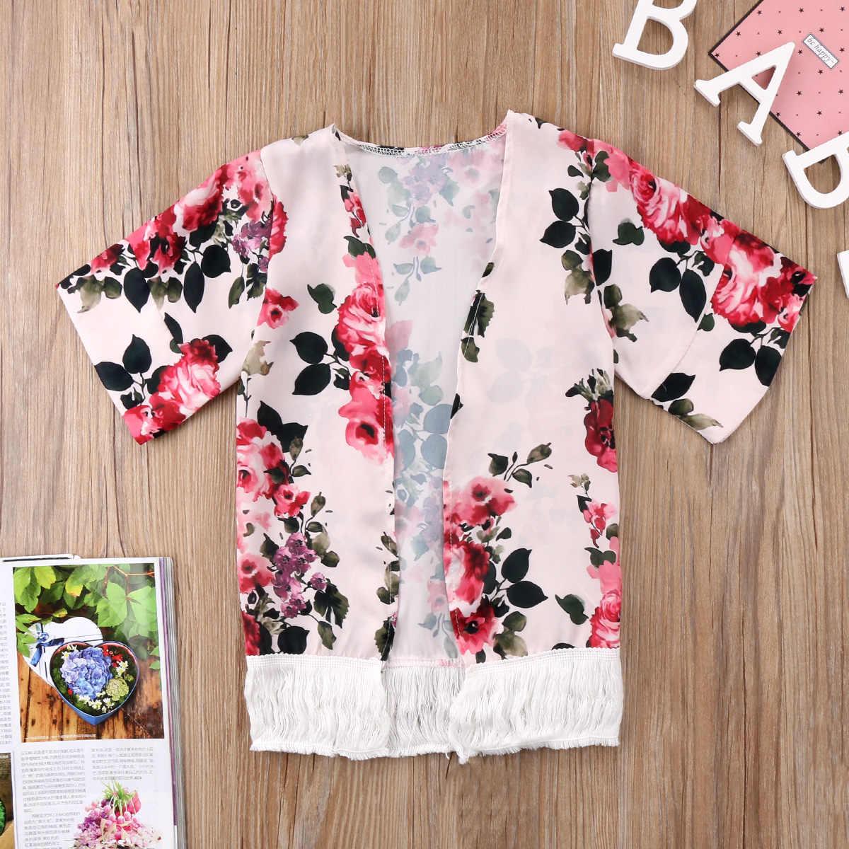 ホット夏自由奔放に生きる幼児の女の子の子供子供シフォン花タッセルカバーカーディガン着物衣装コート 2 色