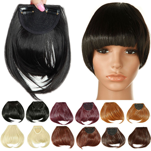 SNOILITE Women Synthetic Clip In blunt Bangs Fringe Hair Extensions Front  on Brown Black Blonde One piece only Hairpiece 8inch a8f39b0e11