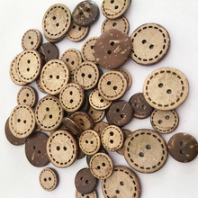 50Pcs Wooden Button Coconut Cute 2 Hole On Clothes Accessories Hand Sewing