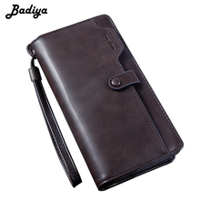 все цены на Vintage Men Wallets Leather Fashion Long Style Business Wallet with Phone Pouch Large Money Bag cartera de mano para hombre