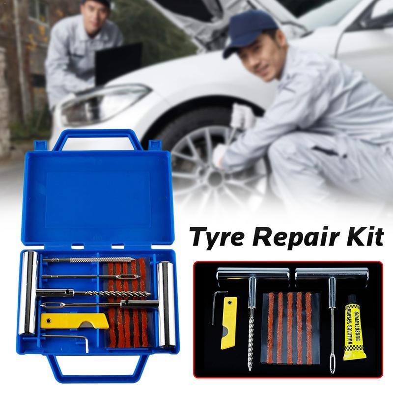 11 stücke Auto Van Motorrad Bike Notfall Heavy Duty Tubeless Reifen Punktion Professionelle Reparatur Kit Stecker Set Reifen Reparatur Kit