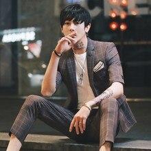 Plaid Suit Men Summer Casual Suits Costume Homme 2 Pcs Set Korean Slim Fit Tuxedo Social Party Smoking Wedding Terno