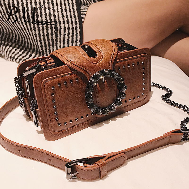 BXX Bag / 2019 New Fashion Vintage Shoulder Bags Chains Hasp Cell Phone Pocket Silt Pocket Single Shoulder Oblique Bag ZA61301 pocket