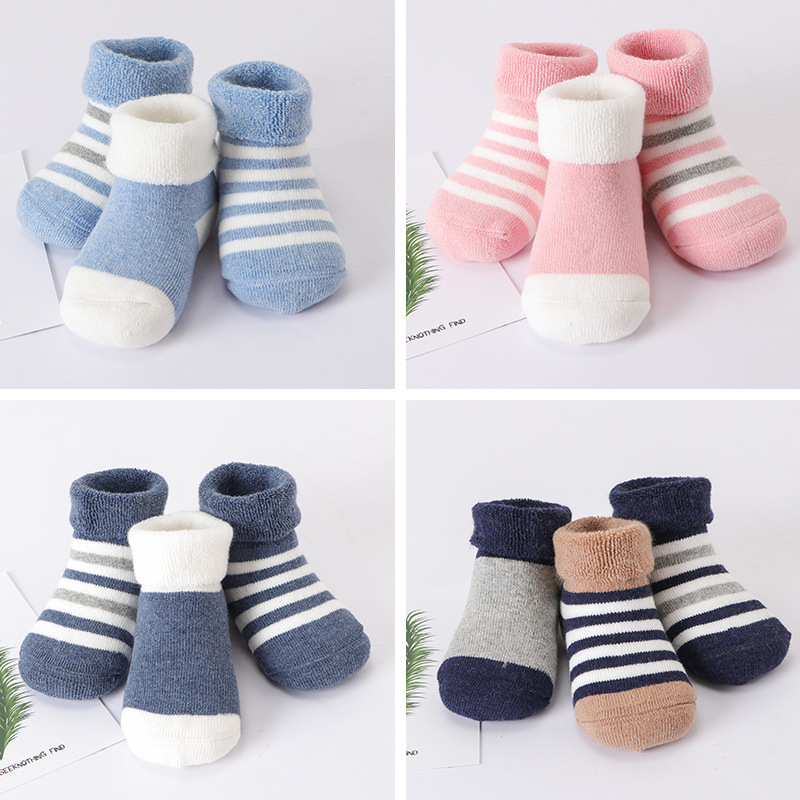 3pairs/lot Warm Winter Baby Socks Cute Soft Autumn Newborn Girls Stripes & Dots Infant boy Shoe