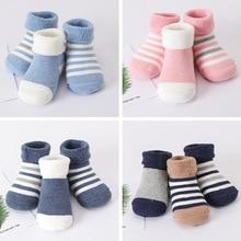 3pairs/lot Warm Winter Baby Socks Cute Soft Autumn Newborn Girls Stripes & Dots Infant boy Shoe